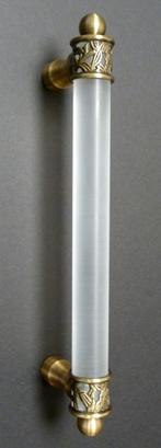 Ornate frosted acrylic door pull for showers, furniture and doors