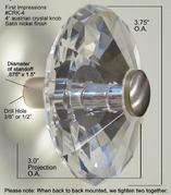 Oversized crystal  faceted knob