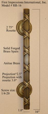 Ribbon pull solid brass from Spain