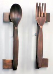 Fork and Spoon Pull in antique copper.