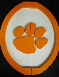 Clemson, custom handle, custom pull, locker room door handle, college logo, orange,