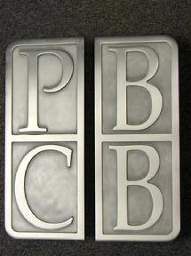 Palm Beach Community bank Custom Logo door handles, logo door pulls, custom logo pulls