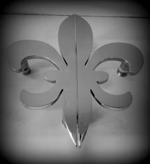 FLEUR D'LYS POLISHED STAINLESS DOOR PULLS, POLISHED STAINLESS DOOR HANDLES, FLEURD'LIS DOOR HANDLES, CUSTOM DOOR HANDLES