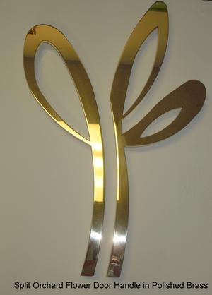 Split Orchard Door Handle In Polished Brass