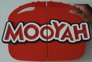 Mooyah burger door handle pulls. red