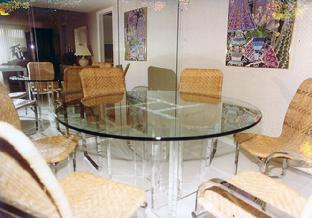glass and acrylic round table