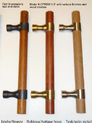 Sample of wood door pulls from First Impressions International,