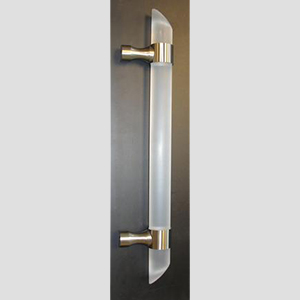 FROSTED ACRYLIC DOOR HANDLES, ACRYLIC MITERED DOOR HANDLES, CONTEMPORARY  MITERED HANDLESCFRBAF12 MITERED   SATIN NICKEL