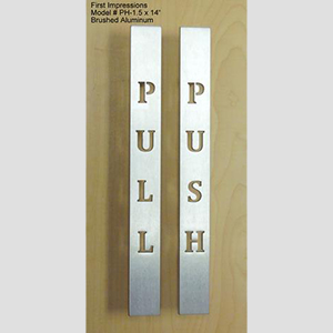 MODEL #PH-1.5 X 14 PUSH AND PULL BRUSHED ALUMINUM DOOR PULLS & Shower Door Pulls u0026 Glass Shower Door Handles | First Impressions