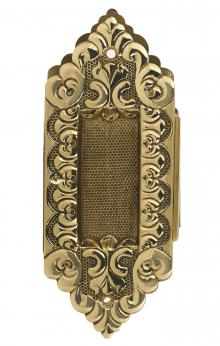 DARBY 1 POCKET DOOR PULL SOLID DECORATIVE BRASS POCKET TRIM PLATE SET ONLY IN BRASS Ornate