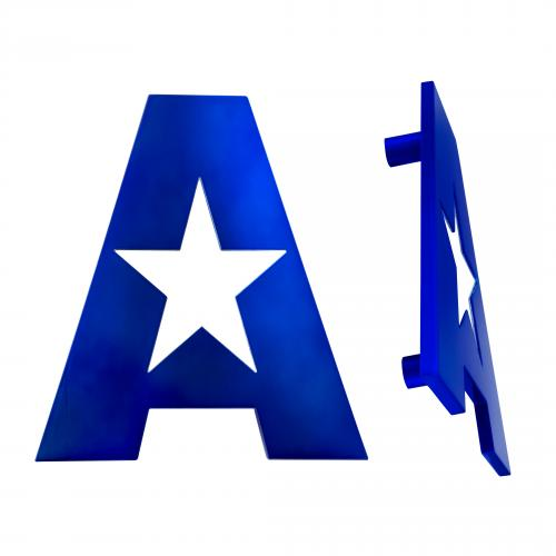 custom letter A door pull with star engraved in the center for Arizona glass specialist