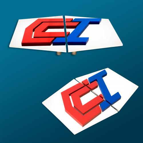 creccal investment polished stainless steel red and blue powdercoated monogrammed split pull