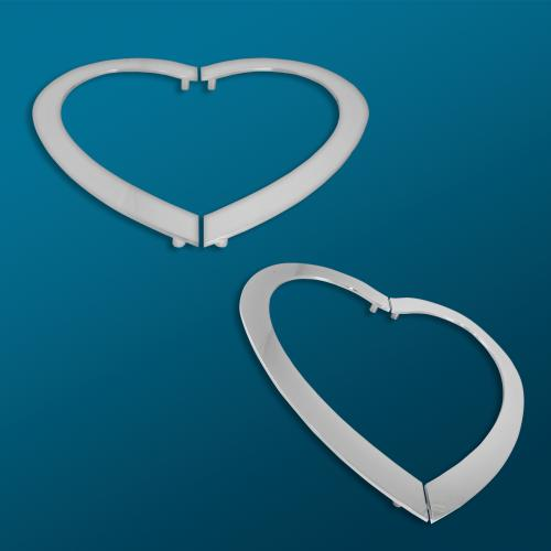 """custom water jetted aluminum heart with a 1"""" face in polished chrome"""