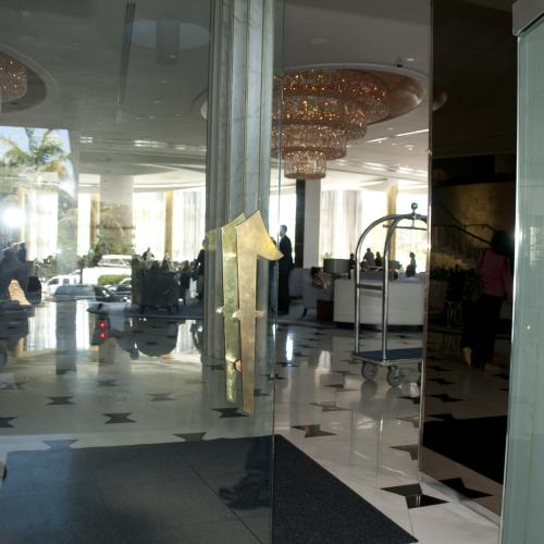 "Custom ""Fontainebleau"" Logo Door Pull installed on Entrance of Miami Beach Location."