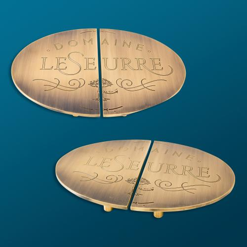 custom domaine leseurre split brass logo door pull