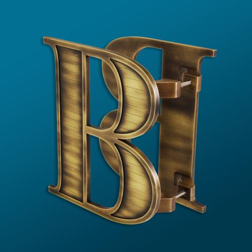 """custom letter """"B"""" in an antique brass finish for lil b coffee & eatery"""