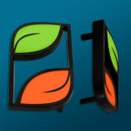 """1"""" thick custom branded plant junkie leaf door pull in aluminum with black, orange and green powdercoating"""