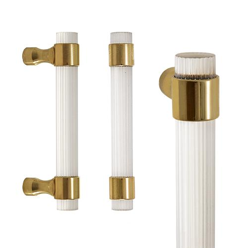Custom Reeded Acrylic Door Handle Pull Brass Mounts