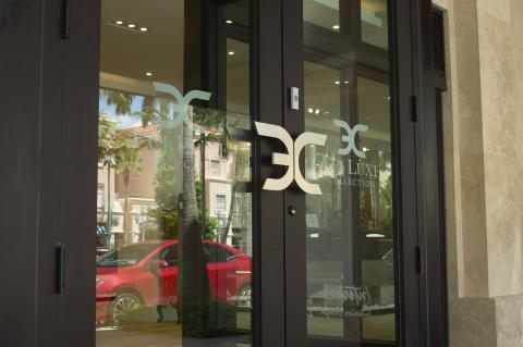 "Custom ""ECJ"" Logo Pull installed on Entrance of ECJ Luxe Collection"