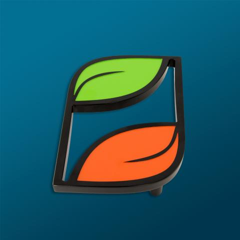 "1"" thick custom branded plant junkie leaf door pull in aluminum with black, orange and green powdercoating front view"