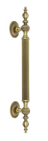 CASTLE 1 Metal DOOR PULL Handle TUBULAR ROUND REEDED GRIP DECORATIVE FINIALS FIXED TAPERED MOUNTS ROSETTES BRASS Residential Handrails