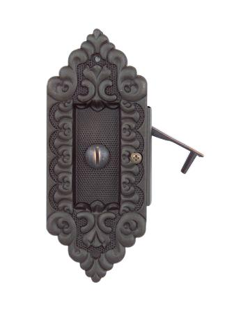 DARBY 3 POCKET DOOR PULL SOLID DECORATIVE BRASS POCKET TRIM SET WITH PRIVACY MORTISE Ornate
