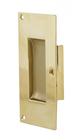 Darby 4 Pocket Door Pull Solid Rectangular Brass Pocket Trim Plate Set ONLY in Brass Commercial Residential
