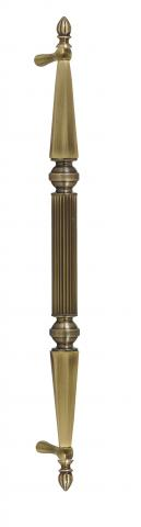 Delaware 1 Metal Door Pull Handle Tubular Round Reeded Center Grip Tapered and Beveled Cone Ends Decorative Balls Finials and Straight Post Mounts in Brass