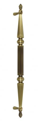 Delaware 1 Metal Door Pull Handle Tubular Round Reeded Center Grip Tapered and Beveled Cone Ends Decorative Balls Finials Store Front
