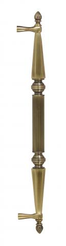 Delaware 1 Metal Door Pull Handle Tubular Round Reeded Center Grip Tapered and Beveled Cone Ends Decorative Balls Finials