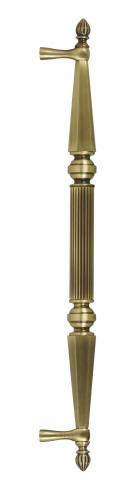 Delaware 1 Metal Brass Door Pull Handle Tubular Round Reeded Center Grip Tapered and Beveled Cone Ends Narrow Style Width