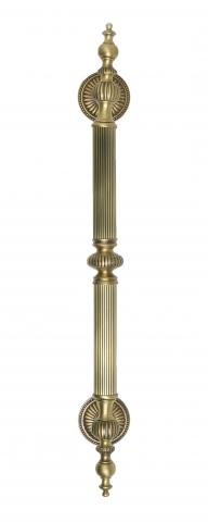 CASTLE 2 Metal DOOR PULL Handle TUBULAR ROUND REEDED GRIP DECORATIVE FINIALS FIXED TAPERED MOUNTS ROSETTES BRASS Residential Handrails