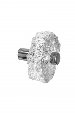 Clearwater 6 hand chiseled acrylic knob cabinetry polished chrome mounts