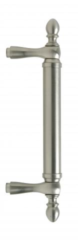 Garnet 4 Door Pull Tubular Round Smooth Grip with Finials Straight Post Mounts in Brass