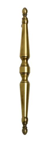 Delaware 7 Door Pull Solid Tapered Decorative Cones Recessed Center Grip Finials Straight Post Mounts in Brass