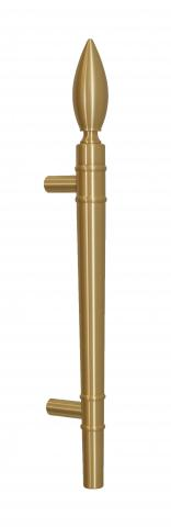 """Olympic 3 Door Pull Handle Solid Round Grip with """"Flame"""" Finial and Straight Round Mounts in Brass Torch Fire Flame Inspired"""