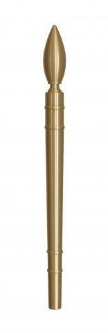 "Olympic 3 Door Pull Handle Solid Round Grip with ""Flame"" Finial and Straight Round Mounts in Brass Olympic Torch"