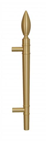 "Olympic 3 Door Pull Handle Solid Round Grip with ""Flame"" Finial and Straight Round Mounts in Brass Torch Fire Flame Inspired"