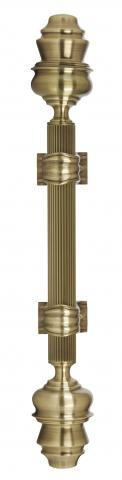 Madison 2 Metal Door Handle Pull Large Reeded Grip and Fancy Cones in Brass with Classic Bracket Residential Commercial