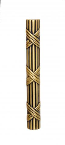 Ozark 1 Door Pull Handle Solid Round Ribbon Reed Grip and Tapered Mounts in Brass Intricate Design