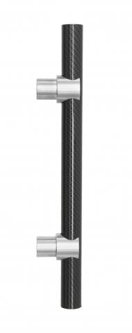 Pioneer 3 Door Pull Handle Tubular Round Grip in Carbon Fiber and Sigma Mounts in Stainless Steel