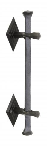 San Juan 2 Solid Square Hand Forged Grip Wrap Around Mount with Decorative Diamond Rosettes in Wrought Iron Rustic
