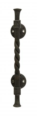 San Juan 3 Solid Round Hand Forged Grip with Twisted Center and Coil Rings, Straight Mounts with Decorative Rosettes in Steel