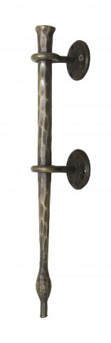 San Juan 4 Metal Solid Hand Forged and Hammered Grip Eyelet Mounts with Decorative Rosettes in Steel Barn Door Wood Door