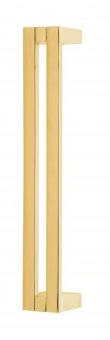Sutter 8 Metal Door Pull Handle Solid Duo Ruler Grip and Straight Square Pronged Mounts Brass