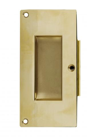 Darby 5 Pocket Door Pull Handle Solid Rectangular Brass Pocket Trim Set Passage Mortise in Brass European Commercial Conference Room