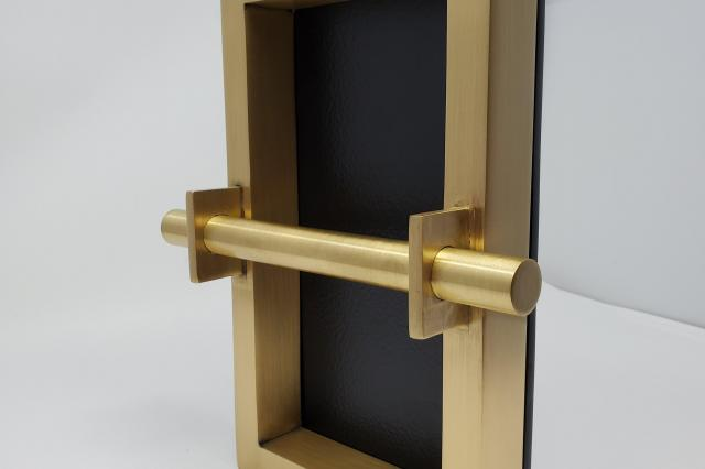 brass box pull with hammered backplate