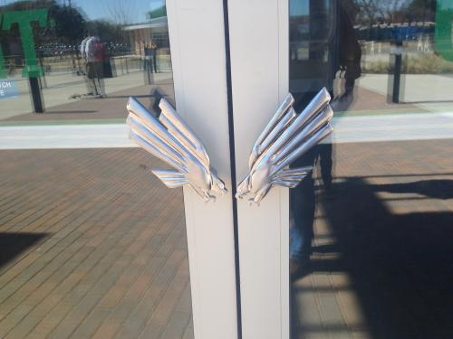 custom eagle university of north texas door pull polished chrome